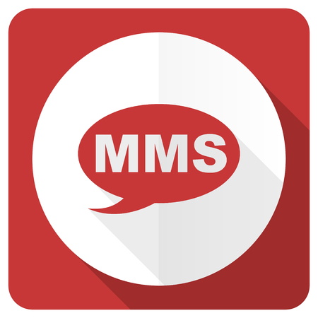 mms: mms red flat icon message sign