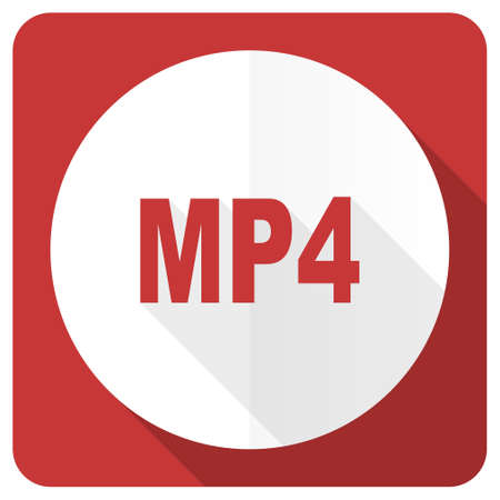 mp4: mp4 red flat icon