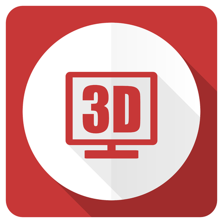 display: 3d display red flat icon