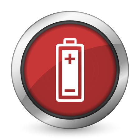 battery red icon power sign photo