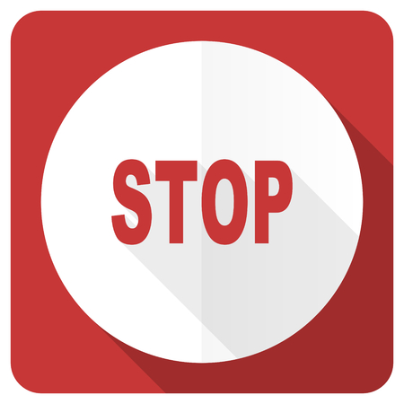 proscribed: stop red flat icon
