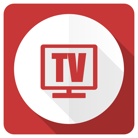 programm: tv red flat icon television sign