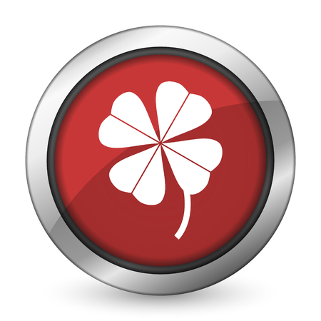 fourleaf: four-leaf clover red icon Stock Photo
