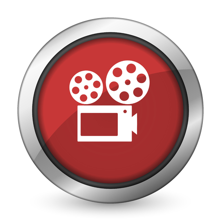 Película icono rojo signo cine Foto de archivo - 37110493