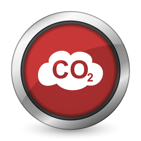 dioxide: carbon dioxide red icon co2 sign Stock Photo
