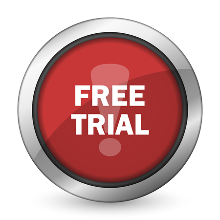 trial: free trial red icon Stock Photo