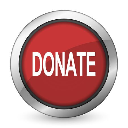 aiding: donate red icon Stock Photo