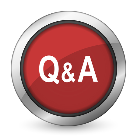 question and answer: question answer red icon Stock Photo
