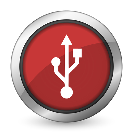 flash memory: usb red icon flash memory sign Stock Photo