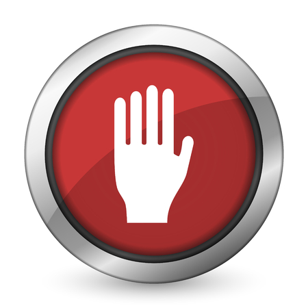 the coachman: stop red icon hand sign