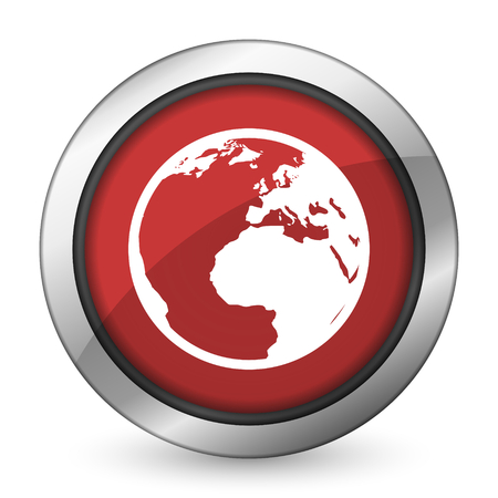parallels: earth red icon world sign