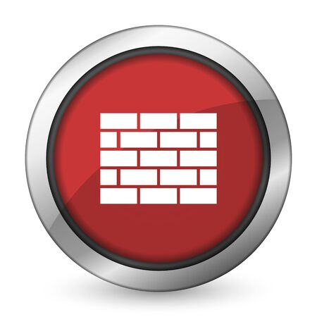 firewall red icon brick wall sign photo