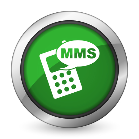 mms: mms green icon phone sign