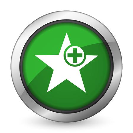 favourite: star green icon add favourite sign