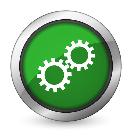 gears green icon options sign photo