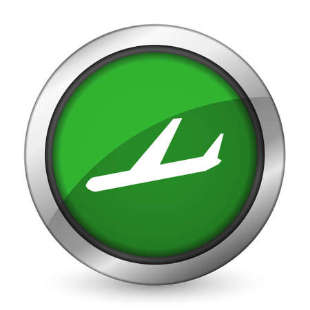 arrivals: arrivals green icon plane sign Stock Photo