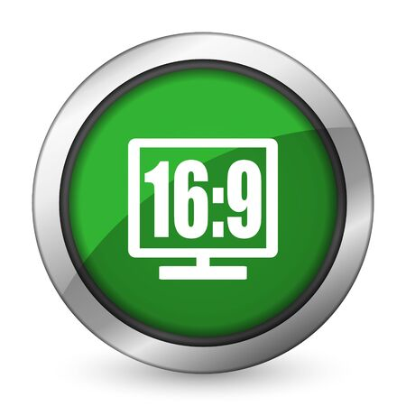 16 9 display green icon photo