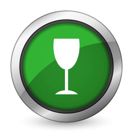 champain: alcohol  green icon glass sign