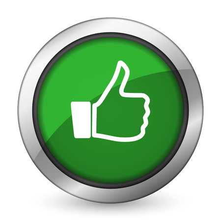 approval button: like green icon thumb up sign