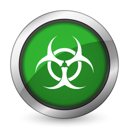 bacterioa: biohazard green icon virus sign Stock Photo