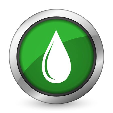 water drop green icon Stock Photo