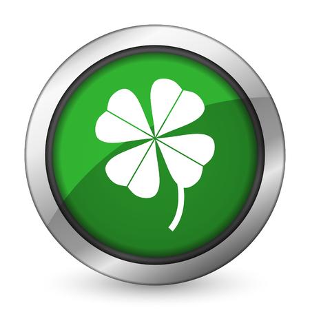 fourleaf: four-leaf clover green icon Stock Photo