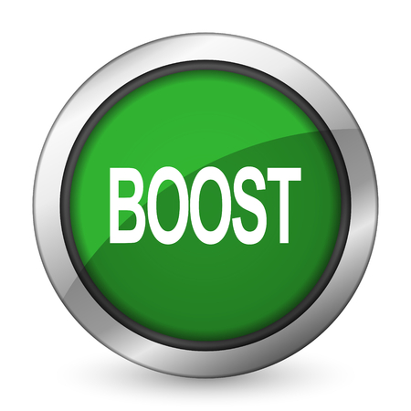 boost: boost green icon Stock Photo