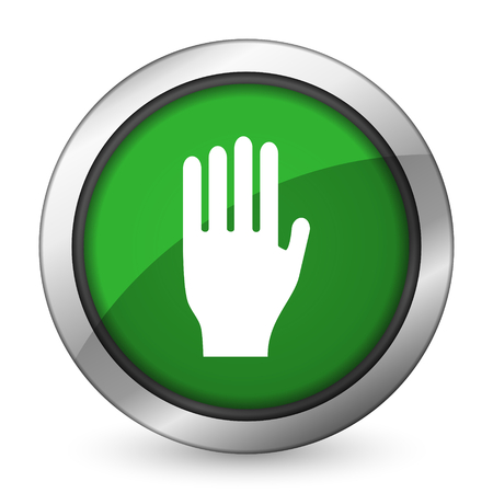 the coachman: stop green icon hand sign Stock Photo