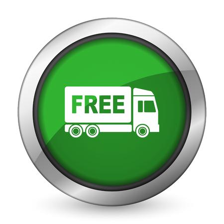 d�livrance: livraison gratuite ic�ne verte signe de transport Banque d'images