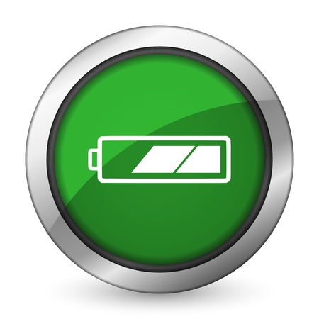 battery green icon charging symbol power sign photo