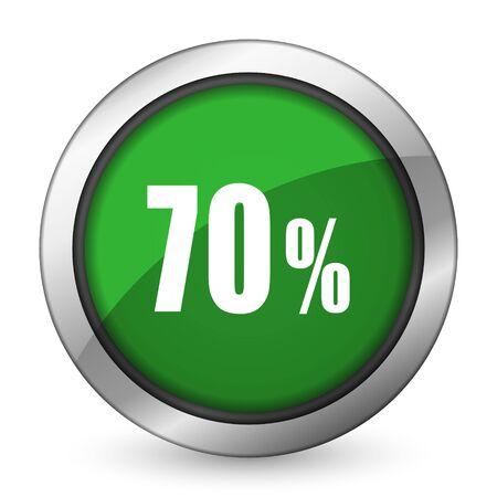 70: 70 percent green icon sale sign