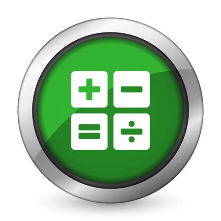 calculator green icon calc sign photo