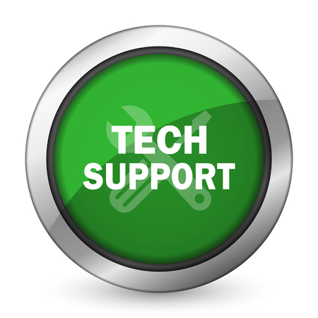 technical support: technical support green icon Stock Photo