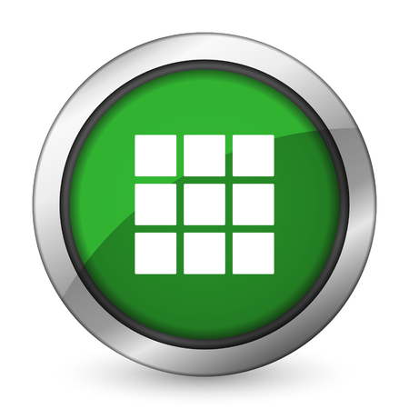 thumbnails: thumbnails grid green icon gallery sign Stock Photo