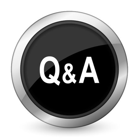 question and answer: question answer black icon Stock Photo