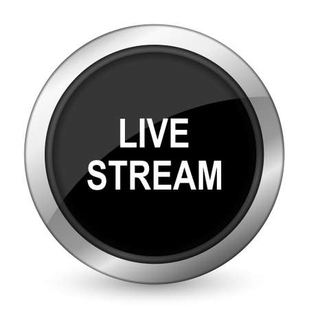 livestream: live stream black icon Stock Photo