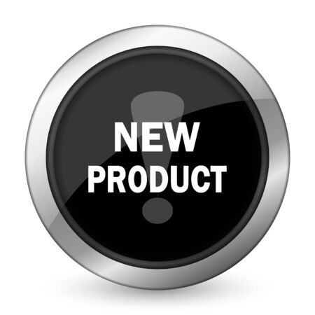 new product: new product black icon Stock Photo