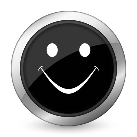 yea: smile black icon Stock Photo