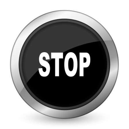 proscribed: stop black icon Stock Photo