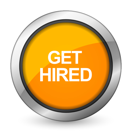 hired: get hired orange icon Stock Photo