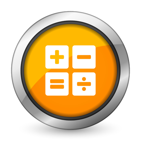 calc: calculator orange icon calc sign