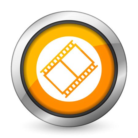movie sign: film orange icon movie sign cinema symbol