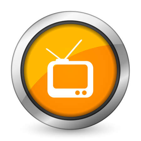 programm: tv orange icon television sign