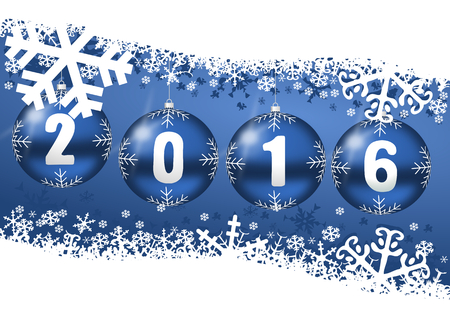 happy newyear: 2016 new years illustration with christmas balls