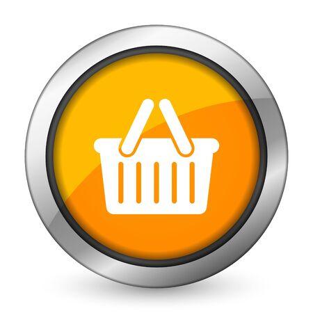 shopping cart icon: cart orange icon shopping cart symbol Stock Photo