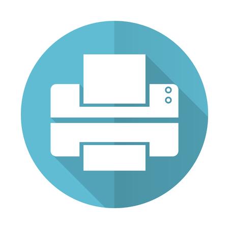 printer blue flat icon print sign photo