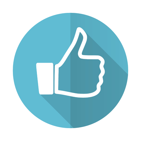 like blue flat icon thumb up sign photo
