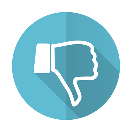 dislike blue flat icon thumb down sign photo