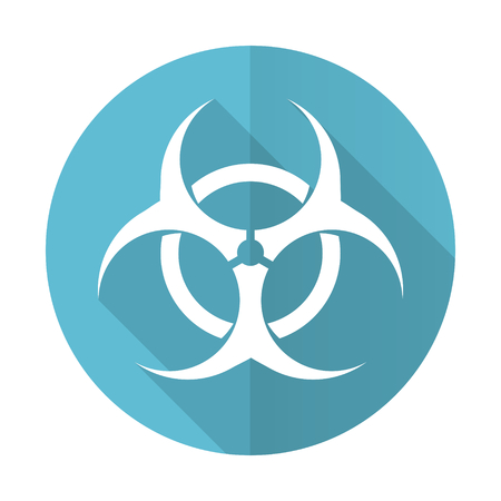bacterioa: biohazard blue flat icon virus sign