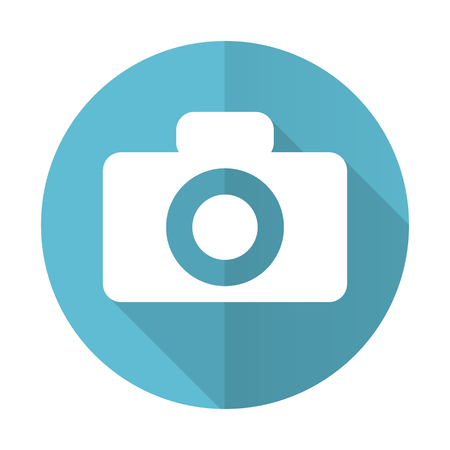 camera blue flat icon photo
